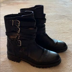 Zara black leather boot with buckle detail